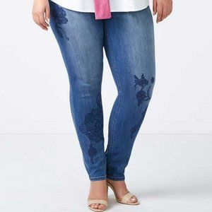 d/C Jeans | Slightly Curvy Embroidered Skinny Jean